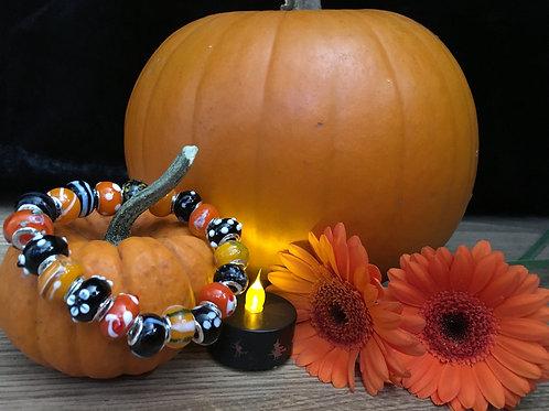 Halloween Orange & Black Womans Murano Style Glass Beaded Bracelet