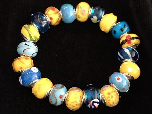 Yellow & Blue Womans Murano Style Glass Beaded Bracelet