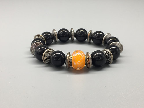 Womans Orange & Black Glass Beaded Bracelet with Spacers