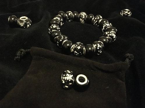 Plain Black & Black Luminous Lampwork Glass Beaded Bracelet