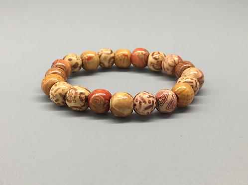 Light Weight Patterned Wooden Beaded Bracelet
