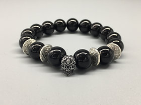 Mens Skull Black Glass Beaded Bracelet with Spacer