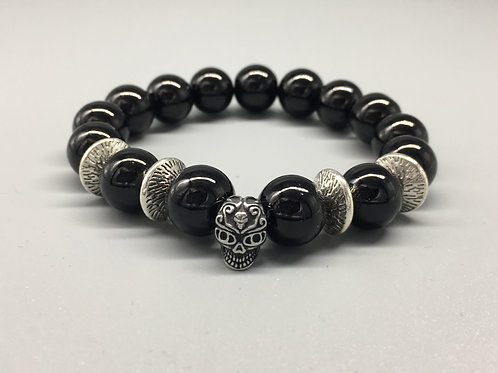 Mens Skull Black Glass Beaded Bracelet with Spacer