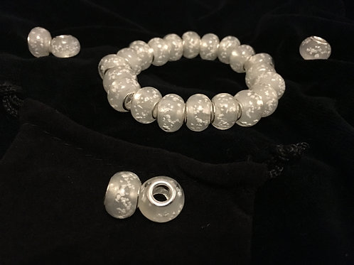 White Luminous Lampwork Glass Beaded Bracelet