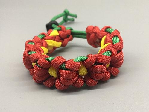 Red Flower Chain Paracord Bracelet women's