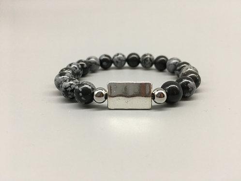 8mm Snowflake Obsidian and Rectangular Tibetan Zinc Bead