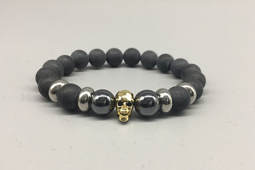 Men's Gold Skull and 10mm Matt Onyx Bracelet.
