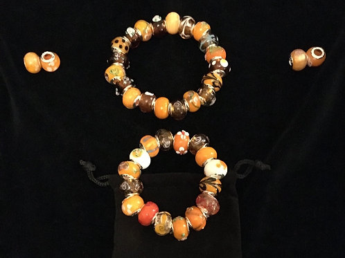 Orange  Mother & Child Murano Style Glass Beaded Bracelets