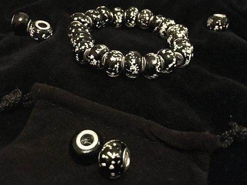 Black Luminous Lampwork Glass Beaded Bracelet
