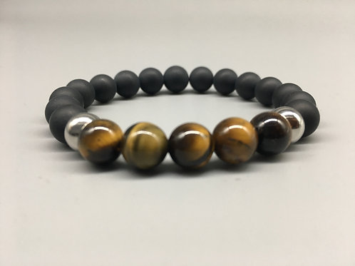 Men's Original Tiger's Eye and 10mm Matt Onyx Bracelet