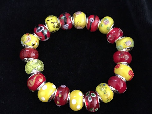 Red & Yellow  Womans Murano Style Glass Beaded Bracelet