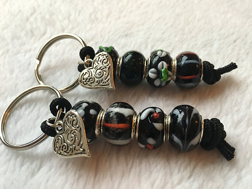 Black Murano Style Glass Beaded Keyring/Bag Charm
