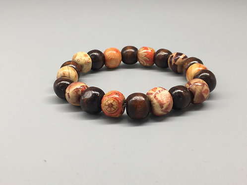 Light Weight Patterned & Dark Wooden Beaded Bracelet