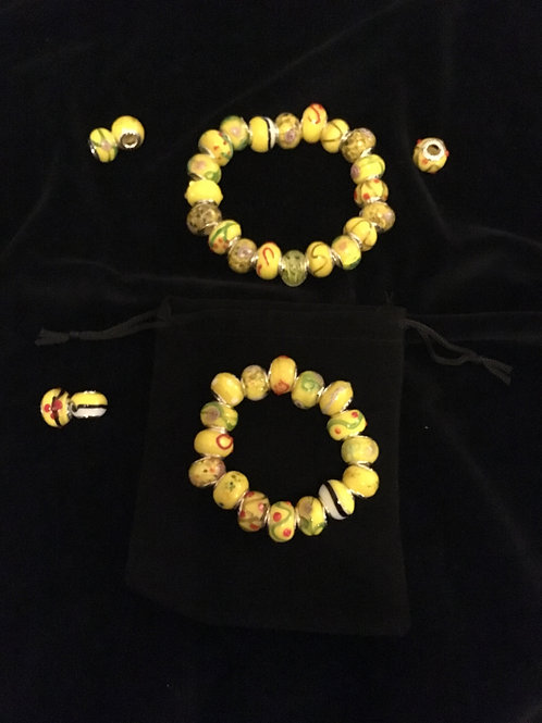 Yellow Mother &  Child  Murano Style Glass Beaded Bracelets