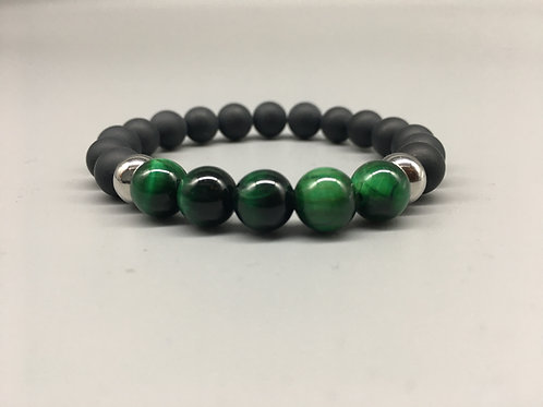 Green Tiger's Eye and 8mm Matt Onyx Bracelet