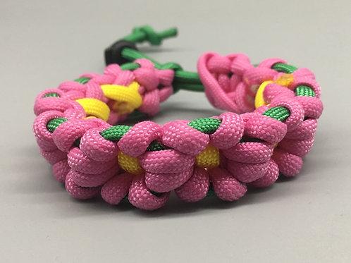 Pink Flower Chain Paracord Bracelet women's