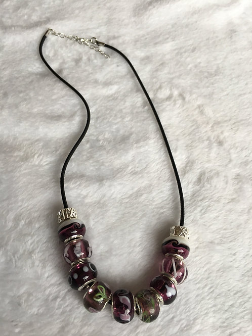 Child Purple Murano Style Glass Beaded Necklace