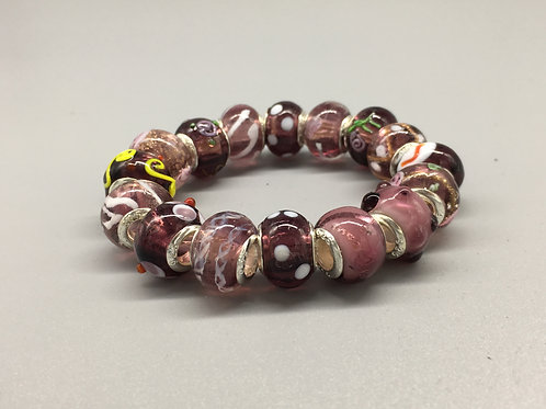 Purple Childs Murano Style Glass Beaded Bracelet