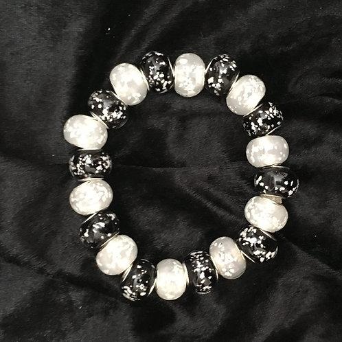 Black & White Luminous  Lampwork Glass Beaded Bracelet
