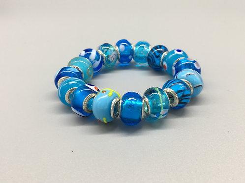 Blue Childs Murano Style Glass Beaded Bracelet