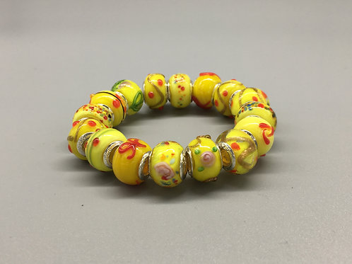Yellow Childs Murano Style Glass Beaded Bracelet