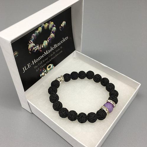 10mm Healing Lava Bracelet Single Purple Agate.