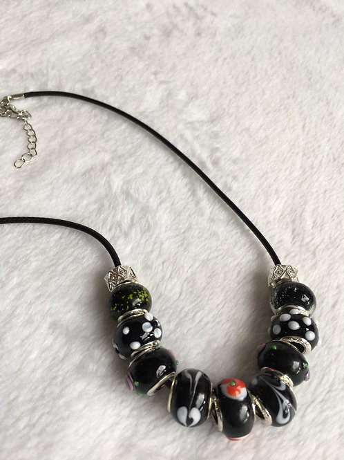 Black Murano Style Glass Beaded Necklace