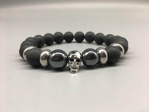 Men's Zirconia Silver Skull and 10mm Matt Onyx Bracelet.