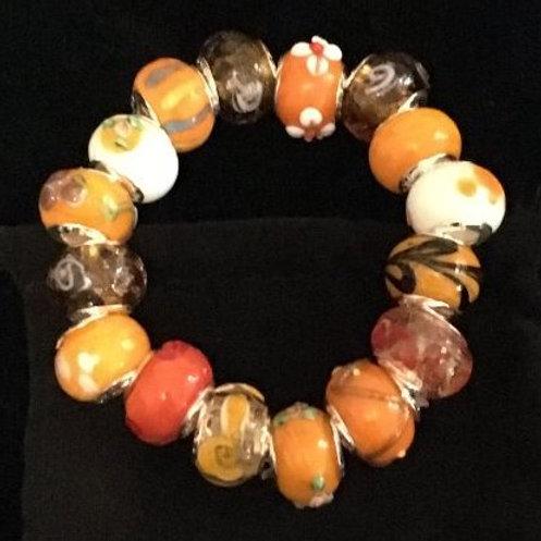 Orange Childs Murano Style Glass Beaded Bracelet