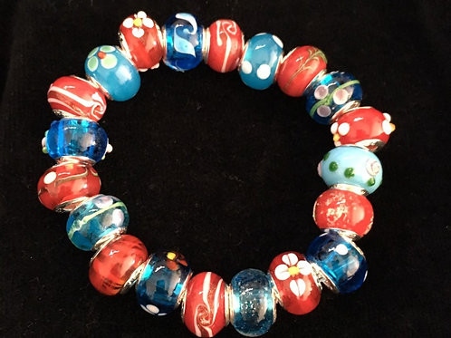 Red & Blue Womans Murano Style Glass Beaded Bracelet