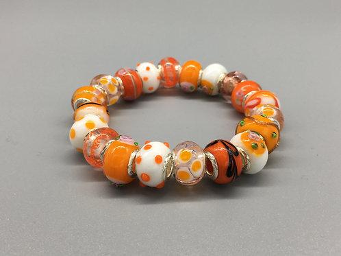 Orange Womans Murano Style Glass Beaded Bracelet