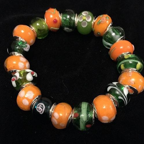 Orange & Green Womans Murano Style Glass Beaded Bracelet