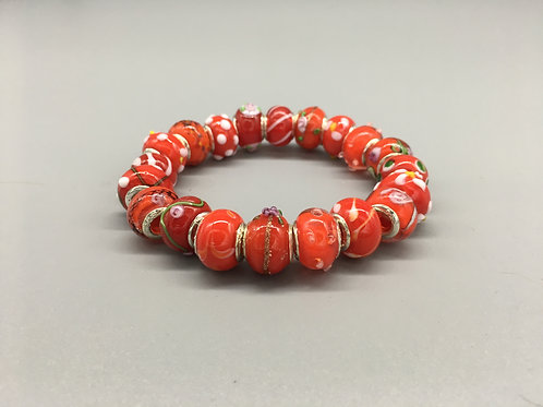 Red Womans Murano Style Glass Beaded Bracelet