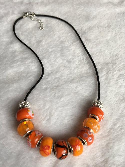 Child Orange Murano Style Glass Beaded Necklace