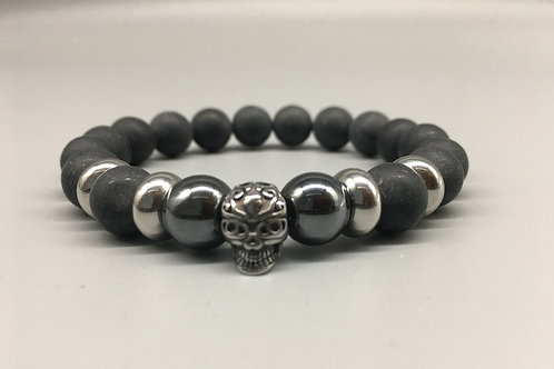 Men's Aztec Skull and 10mm Matt Onyx Bracelet.