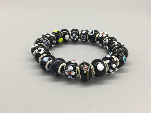 Black Womans Murano Style Glass Beaded Bracelet