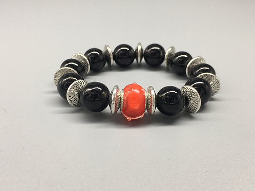 Womans Red & Black Glass Beaded Bracelet with Spacers