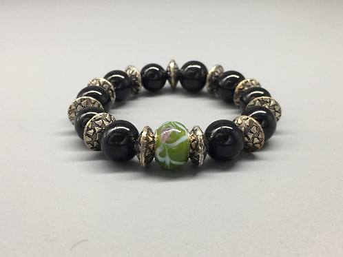 Womans Green & Black Glass Beaded Bracelet with Spacers