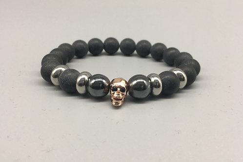 Men's Rose Gold Skull and 10mm Matt Onyx Bracelet.