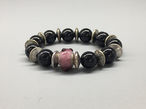 Womans Purple & Black Glass Beaded Bracelet with Spacers