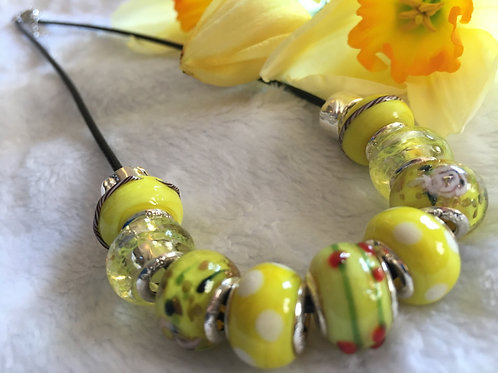 Child Yellow Murano Style Glass Beaded Necklace