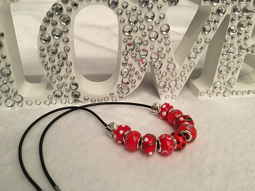 Child Red Murano Style Glass Beaded Necklace