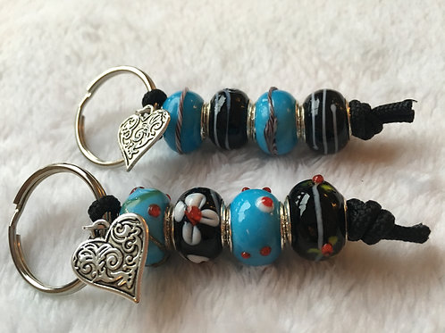 Blue & Black Murano Style Glass Beaded Keyring/Bag Charm
