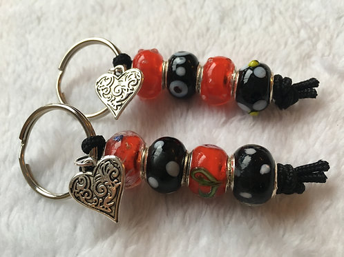 Red & Black Murano Style Glass Beaded Keyring/Bag Charm