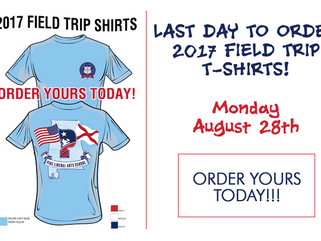 AUGUST 28th is the LAST DAY to order FIELD TRIP SHIRTS!
