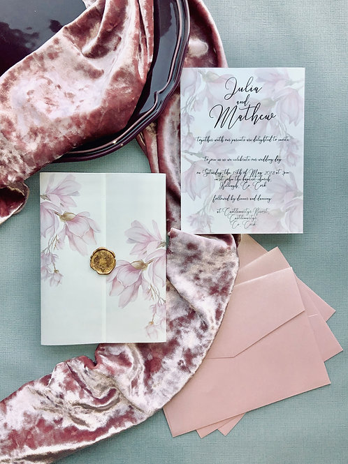 Magnolia with vellum & wax seal invitation