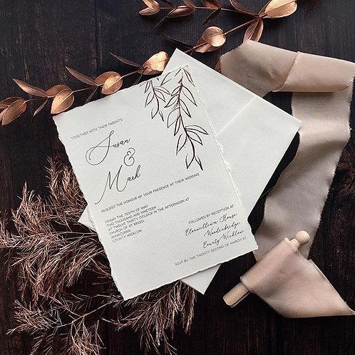 Hotfoiled leaf invite sample