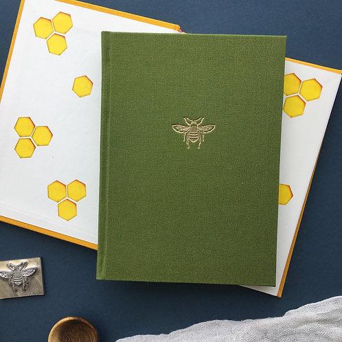 A6 Bee Linen Notebook-Green