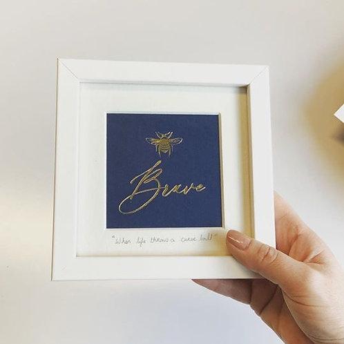 Bee Brave Miniature hotfoil Print