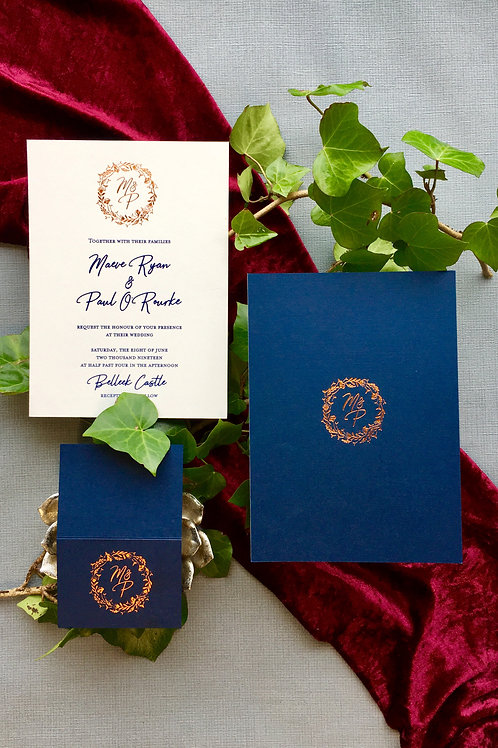 Hotfoil monogram invitation